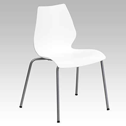 Charmant Flash Furniture HERCULES Series 770 Lb. Capacity White Stack Chair With  Lumbar Support And Silver