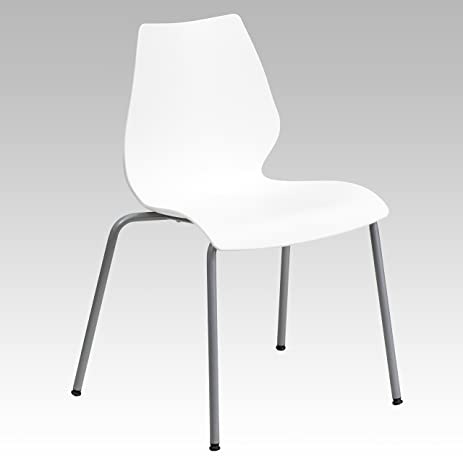 Flash Furniture HERCULES Series 770 Lb. Capacity White Stack Chair With  Lumbar Support And Silver