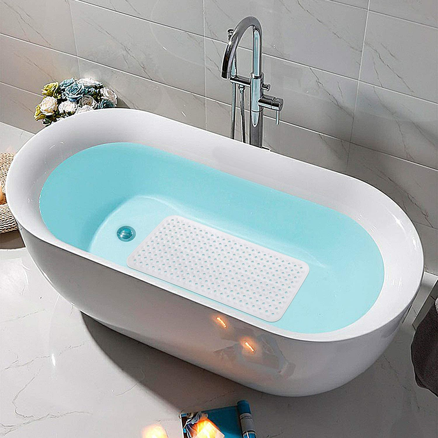 35x15.5 Inch Clear Non-Slip and Phthalate Latex Free,Bath tub Mat with Suction Cups,Machine Washable XL Size Bathroom Mats EHZNZIE Bathtub Shower Mat