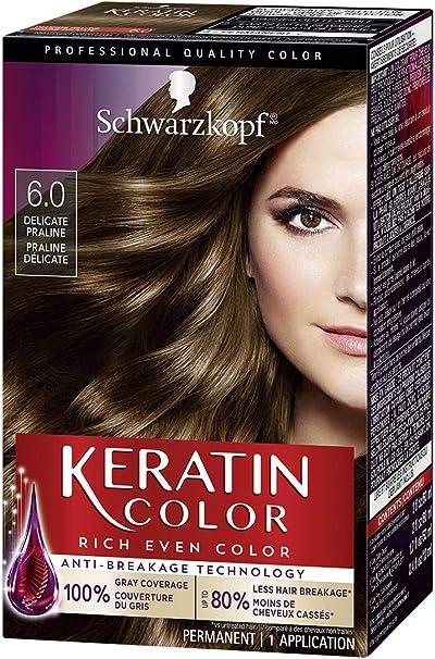 Schwarzkopf Keratin Hair Color, Delicate Praline 6.0, 2.03 Ounce by Schwarzkopf