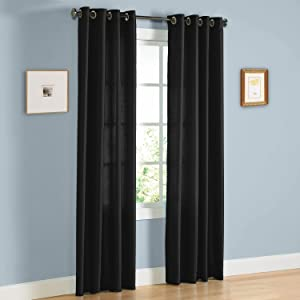 "Gorgeous Home 1 Faux Silk Window Curtain Panel 55"" by 84"" Inch Solid Black 8 Bronze Grommets Mira"