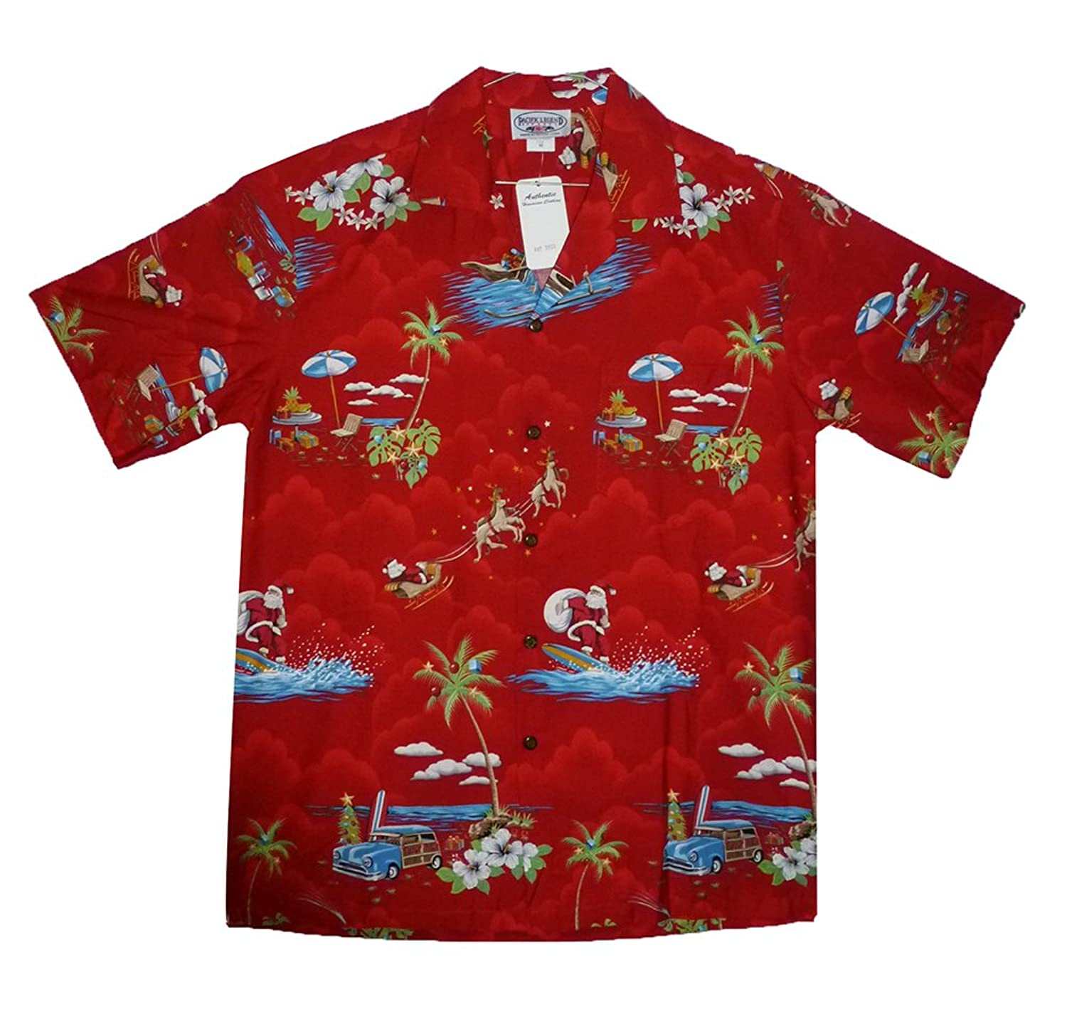 Pacific Legend | Original Hawaiian Shirt | For Men | S - 4XL | Short-Sleeve | Front-Pocket | Hawaiian-Print | Christmas Santa | Red