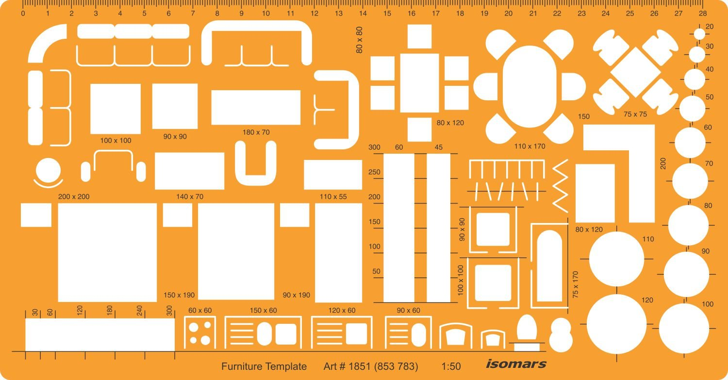 Isomars 1:50 Architectural Drawing Template Stencil-Furniture ...