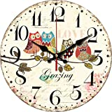 """Grazing 12"""" Vintage Arabic numerals Design Rustic Country Tuscan Style Wooden Decorative Round Wall Clock (Owl 02)"""