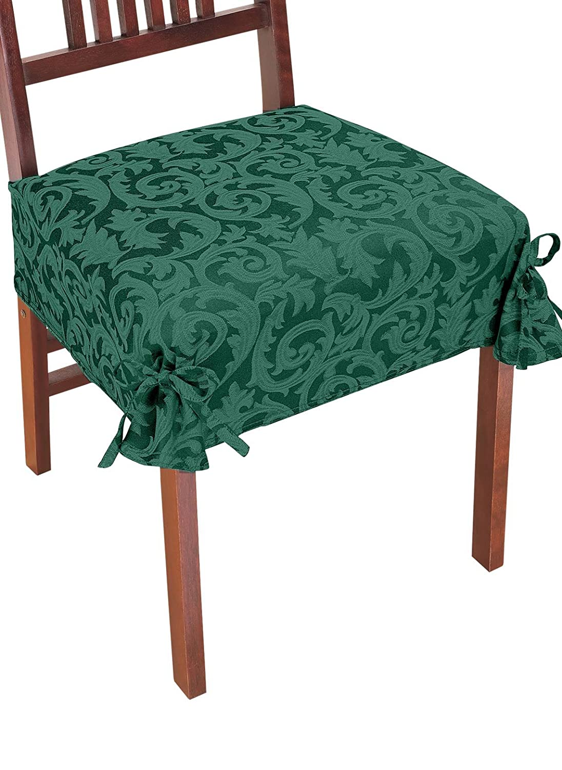 chair seat covers. amazon.com: carol wright gifts damask chair covers, green: kitchen \u0026 dining seat covers i