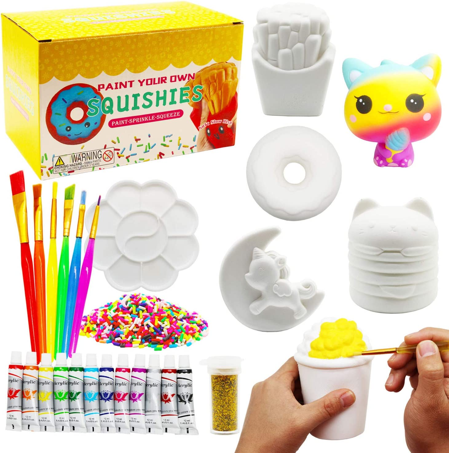 Korilave Squishies DIY Art Crafts Dessert Kits for Girls Gift, Paint Your Own Squishy Toy Jumbo Soft Slow Rising Stress Relief Fidget Toys for Ages 4 5 6 7 8 Kids(27Pcs)