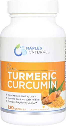 Naples Naturals Turmeric Curcumin with Black Pepper Piper Nigra , Temporary Relief for Joint Pains and Aches 120 Capsules