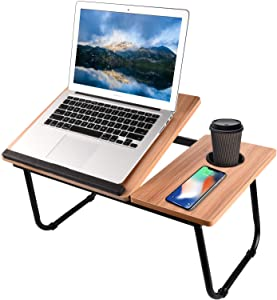 Bed Desk with Cup Holder, Laptop Table for Bed Adjustable Portable Computer Tray for Bed, SMTTW Laptop Desk for Bed, Foldable Small Desk for Writing, Laptop Bed Tray for Bed and Sofa-Brown
