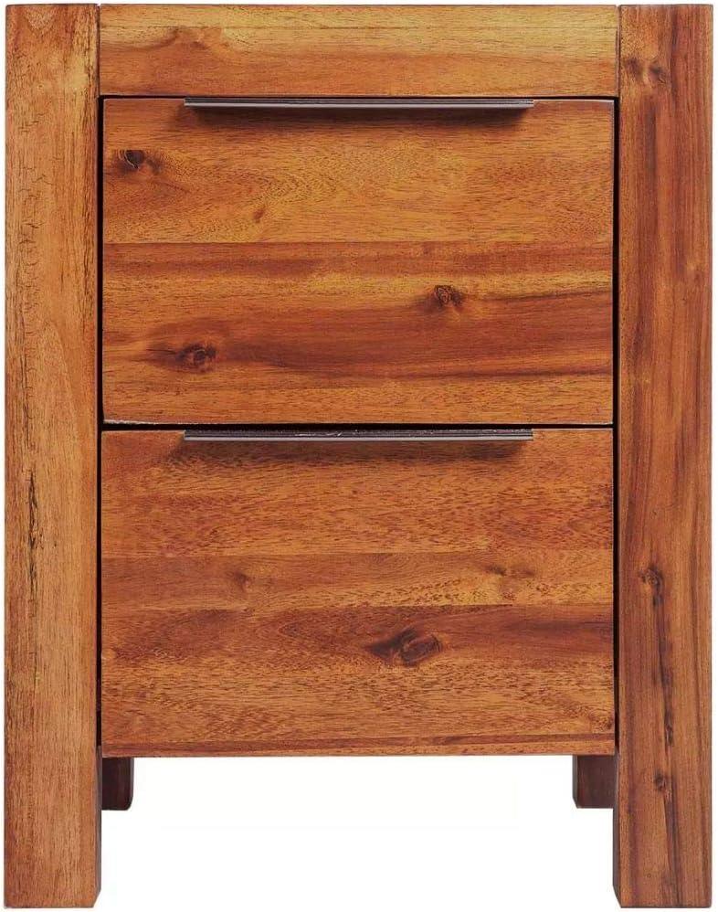 en Bois dAcacia Massif Style Vintage Marron 45 x 42 x 58 cm Tidyard LArmoire de Chevet//Support de T/él/éphone avec 2 tiroirs