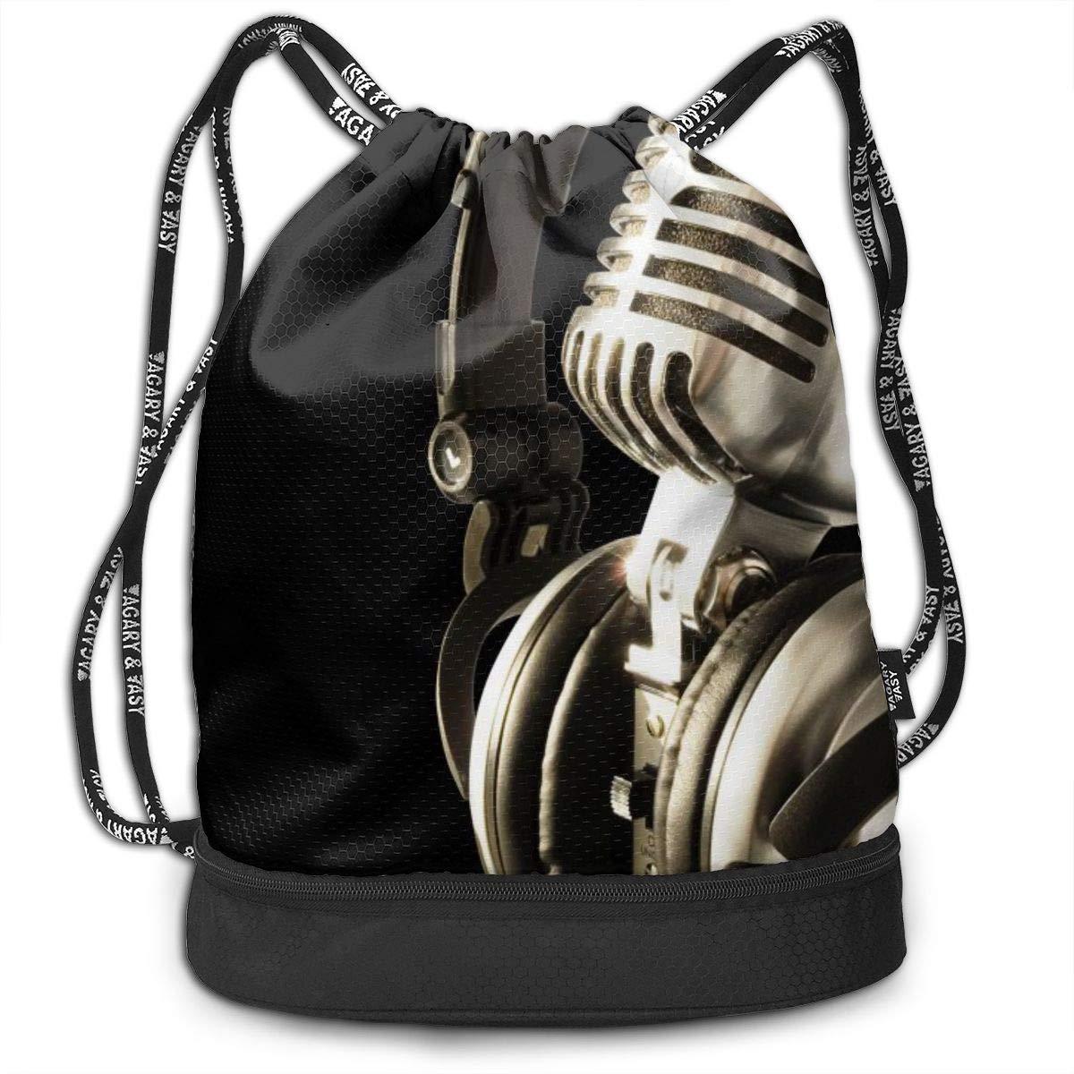 MicrophoneEarphone Cinch Backpack Sackpack Tote Sack Lightweight Waterproof Large Storage Drawstring Bag For Men /& Women