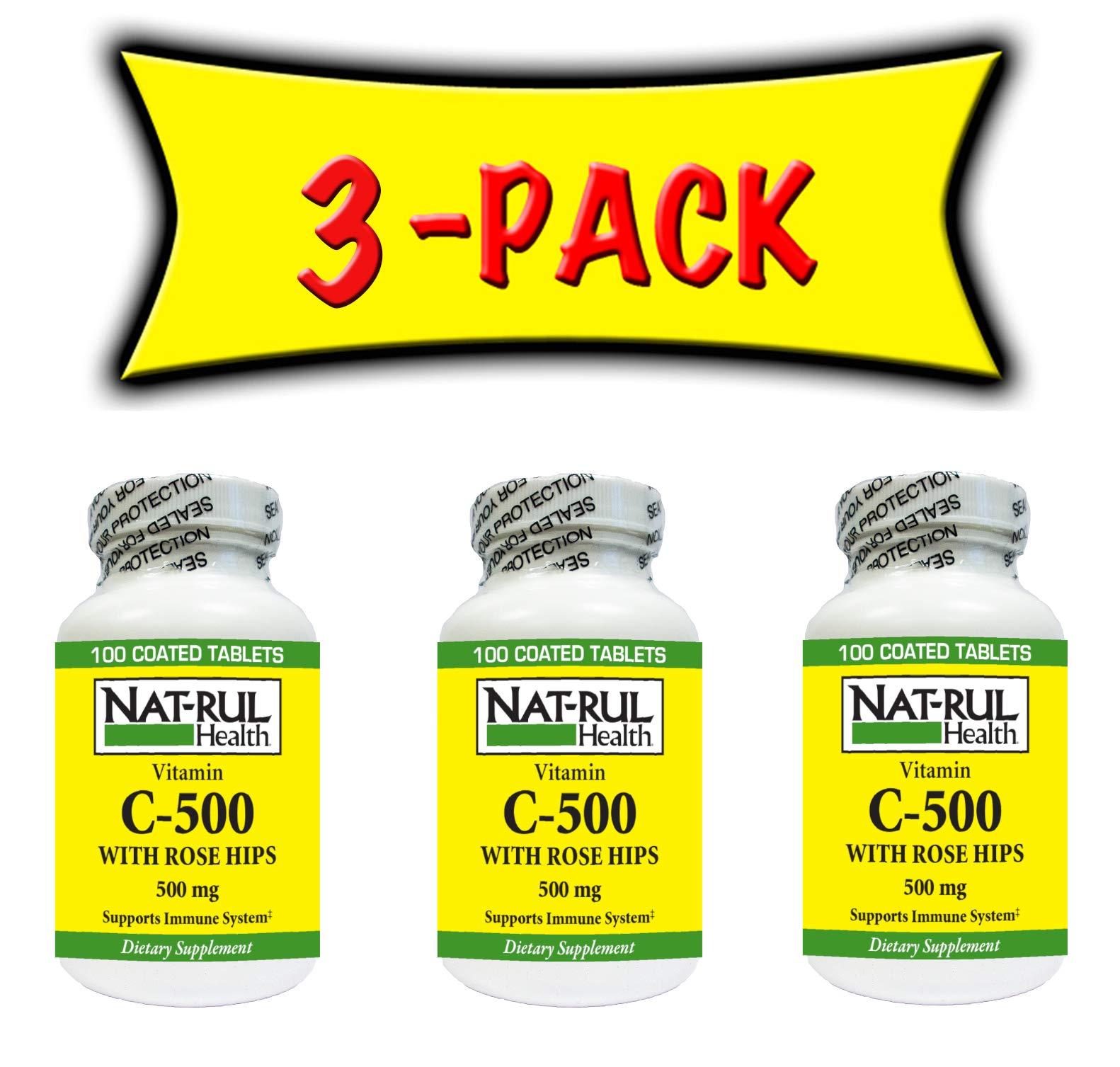 Nat-rul Health Vitamin C-500 mg Rose Hips 100 Tablets- 3 PACK
