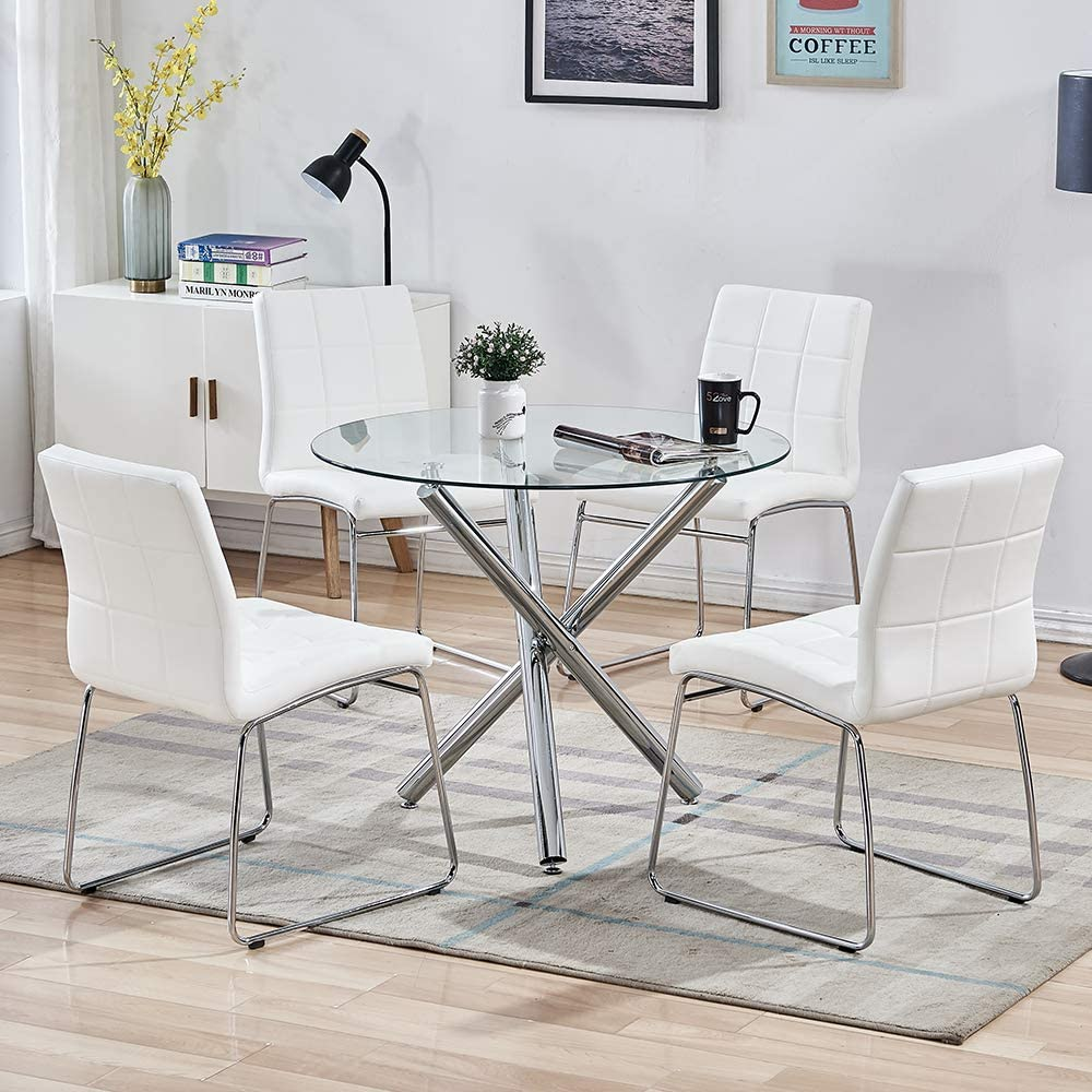 Amazon Com Sicotas 5 Pieces Round Dining Table Set Modern Kitchen Table And Chairs For 4 Person Dining Room Table Set With Clear Tempered Glass Top Dining Set For Dining Room Kitchen