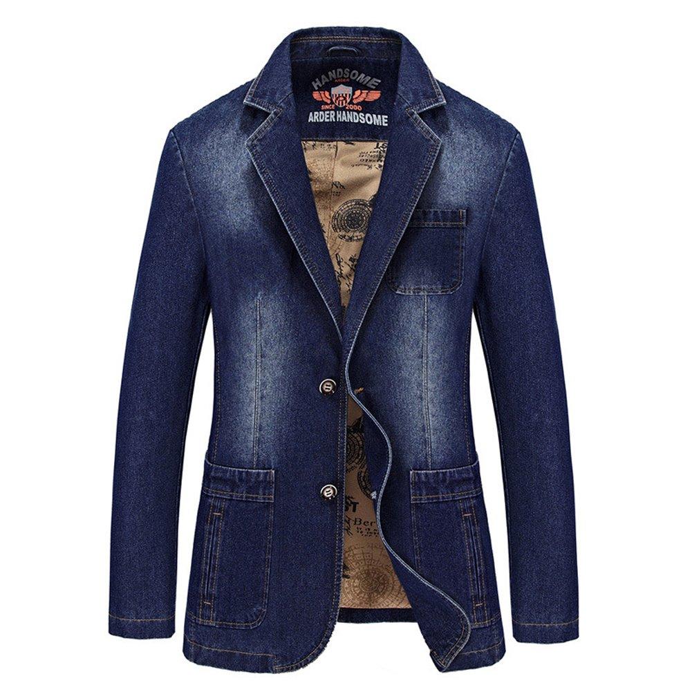 DeLamode Men Denim Business Suits Jeans Vintage Two Button Cowboy Blazer DLCoat-0076-01