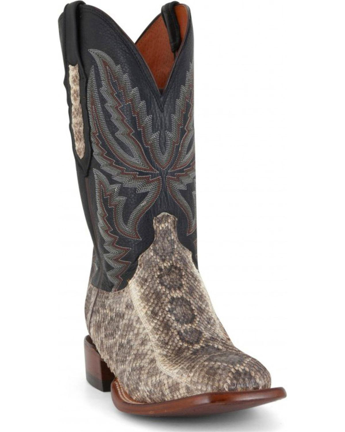 Lucchese Men's Rattlesnake And Calf Western Boot Wide Square Toe Black 9.5 D
