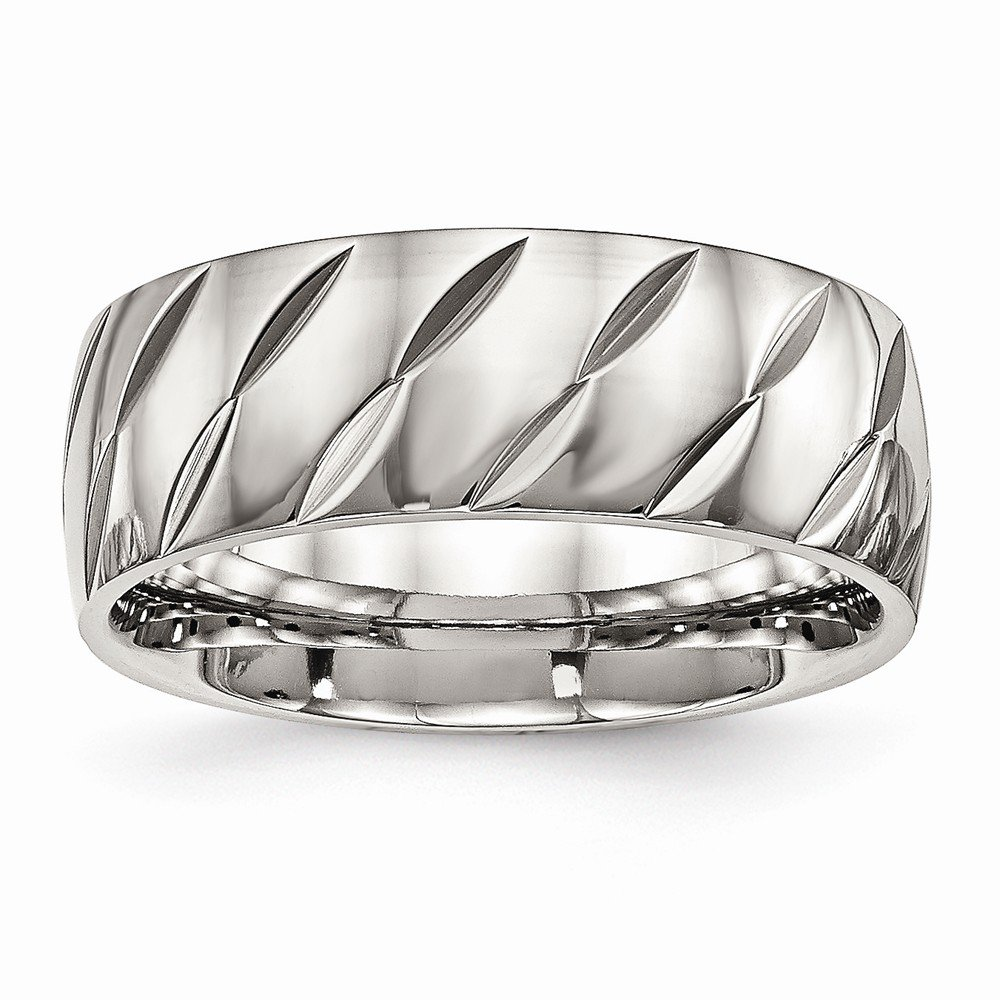 Saris and Things Stainless Steel Polished Diamond Cut Ring 7 to 13 Size