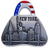 Handbag Shape Metal Clip Magnet New York Landmarks Souvenir Metal Fridge Magnet Statue of Liberty Brooklyn Bridge NYC Skyline NY Chrysler Building US Flag