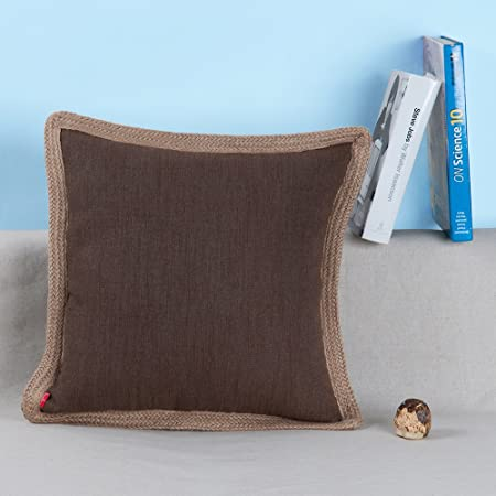 Baibu Polyester Cushion Cover With Jute Braided Cotton Throw Pillow Adorable Jute Pillow Cover With Braided Trim