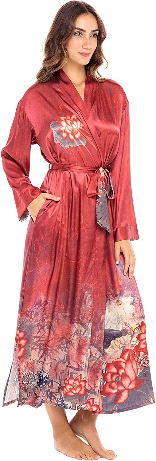 Vintage Nightgowns, Pajamas, Baby Dolls, Robes Alexander Del Rossa Womens Ankle Length Satin Kimono Robe $64.99 AT vintagedancer.com