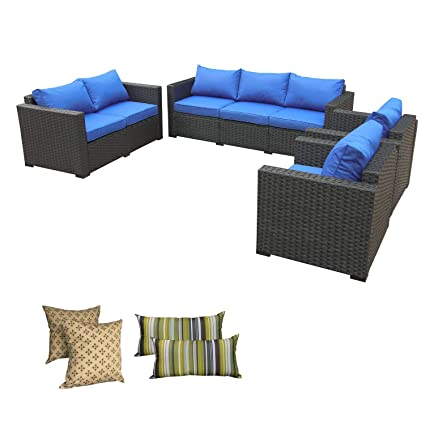 Amazing Rattaner Outdoor Wicker Furniture Set 4 Piece Patio Pe Rattan Garden Sectional Conversation Cushioned Seat Couch Sofa Set Royal Blue Cushion Inzonedesignstudio Interior Chair Design Inzonedesignstudiocom