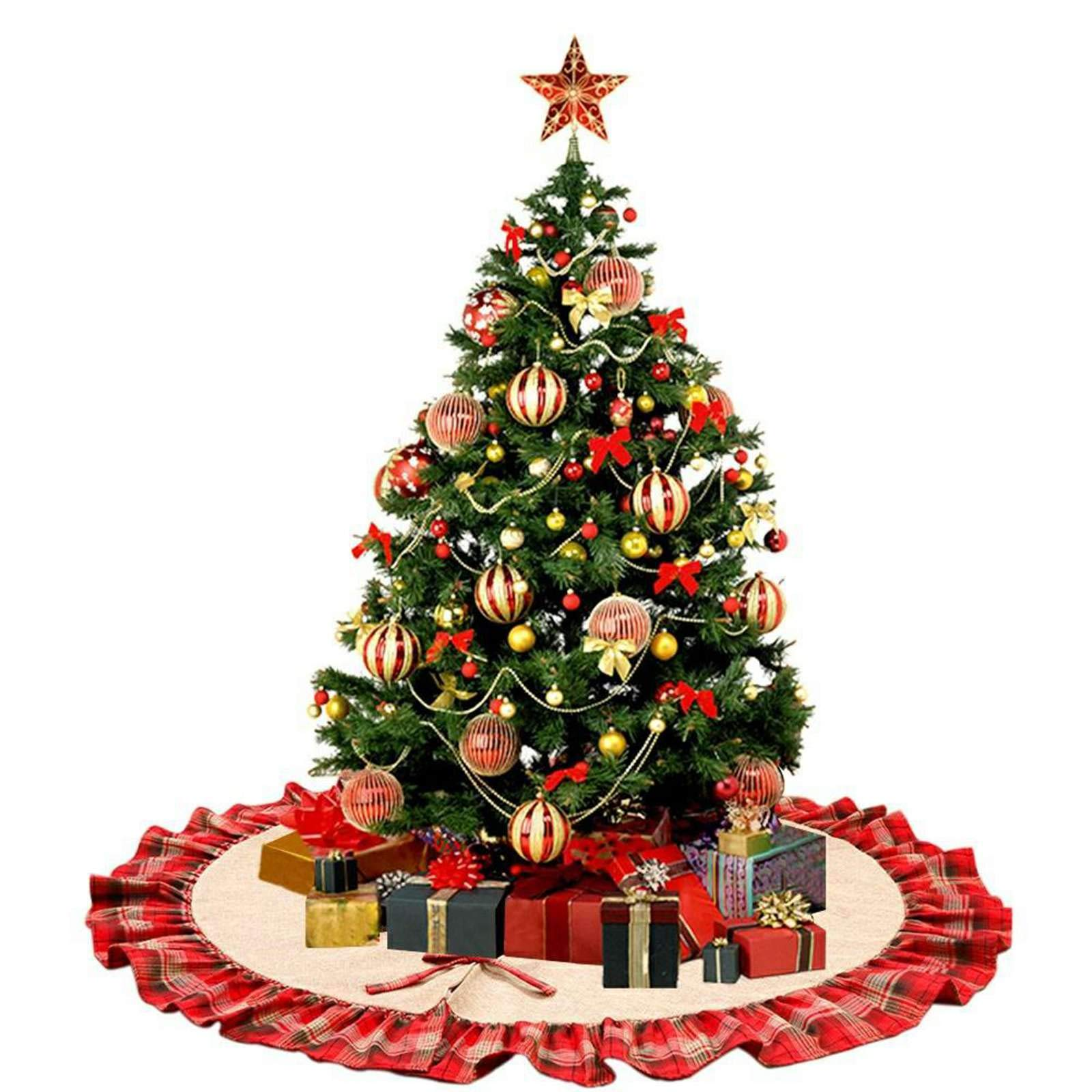 Vlovelife Christmas Tree Skirt, Linen Burlap Large 48 Inches Round Tree Skirt with Plaid Ruffle Edge for Xmas Party Holiday Home Decorations