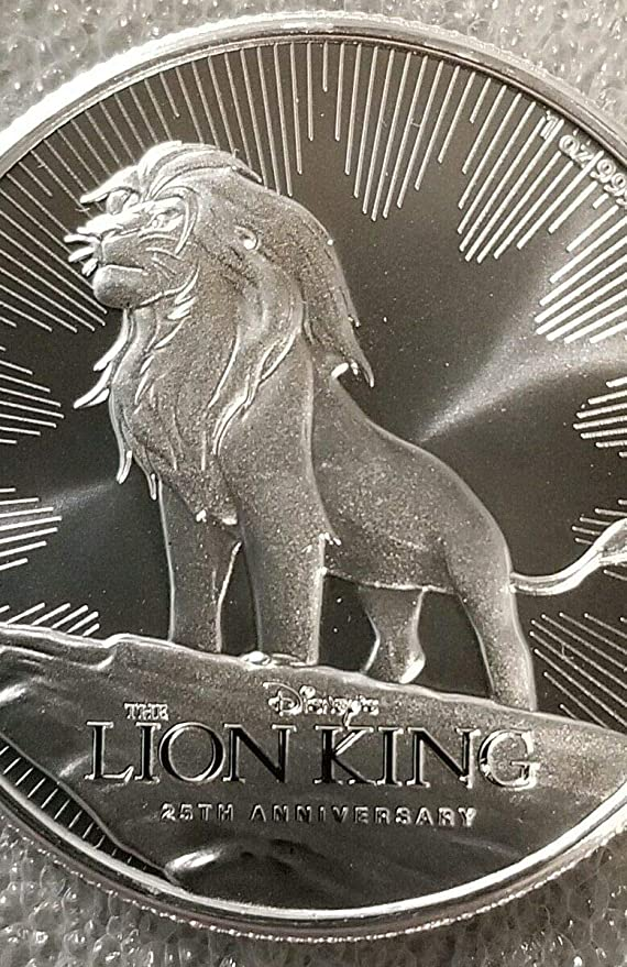 SILVER 1 OZ BU COIN NIUE 2019 LION KING 25TH COMM