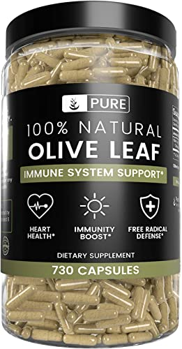 Olive Leaf, 1 Year Supply, 730 Capsules, 940mg, No Magnesium or Rice Filler, Non-GMO, Antioxidant, Gluten-Free, 20 Oleuropein, Made in USA, Undiluted Olive Leaf with No Additives