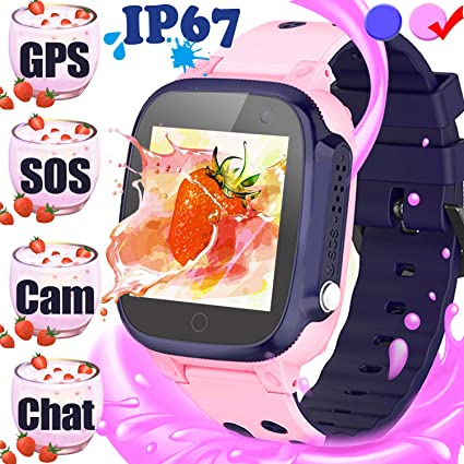 🔥2019🔥 Kid Smart Watch GPS Tracker Phone, IP68 Waterproof Touch Screen Phone Smartwatch with SIM Slot GPS Anti-Lost SOS Camera Voice Chat Alarm Clock ...