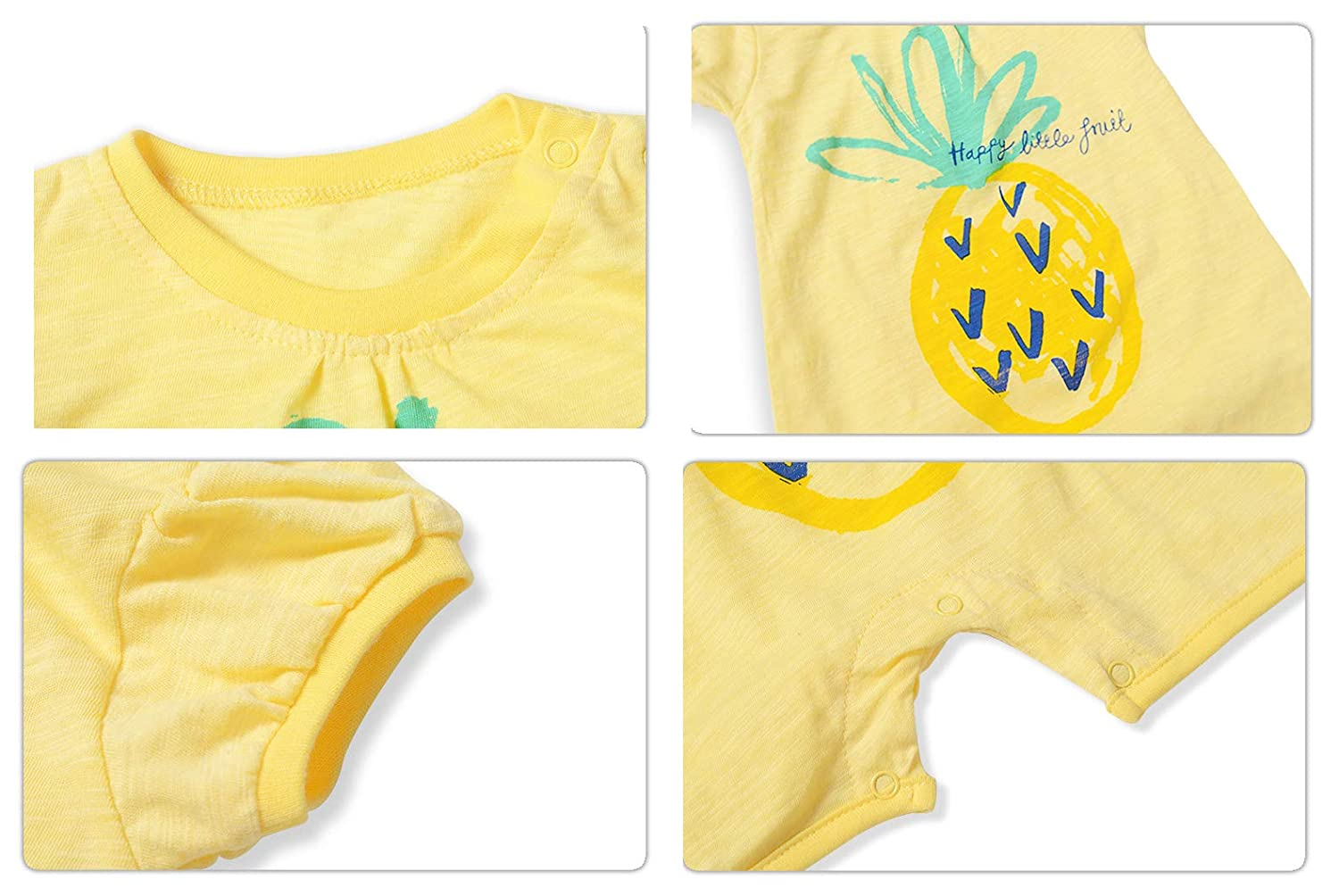 KUKEONON Infant Baby Girls Short Sleeve Romper Fruit Prints Jumpsuit with Buttons