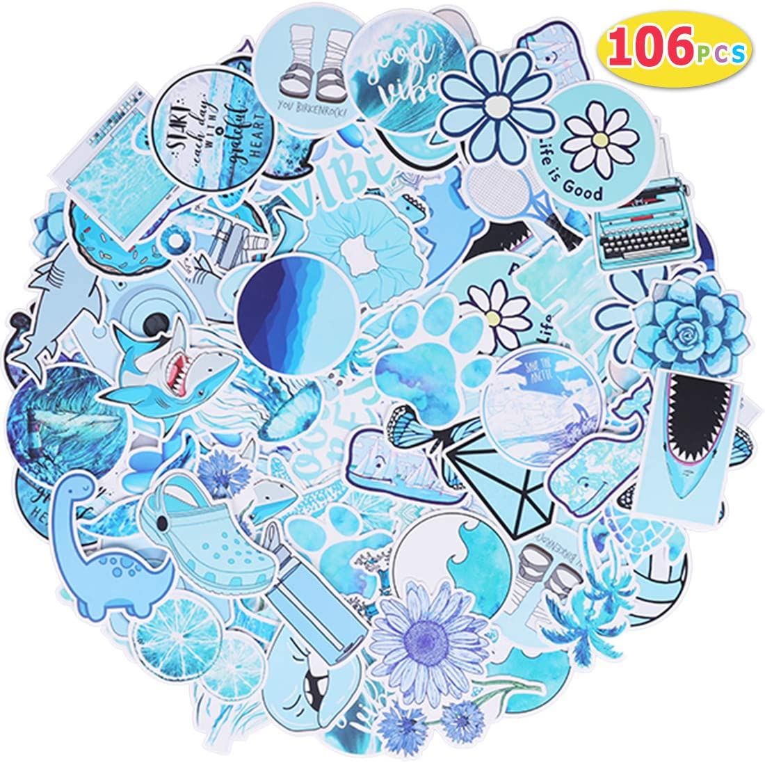 Pink Max Fun 103pcs Waterproof Stickers Packs for Water Bottle Laptop Envelopes Gifts Tags Crafts Windows Phone Luggage Snowboard Guitar Skateboard Stickers Decals