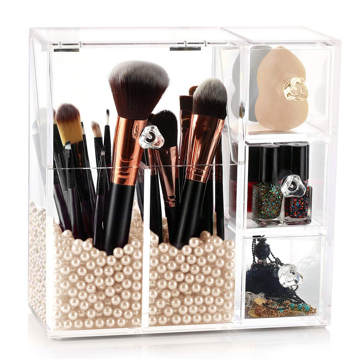 hblife Makeup Brush Holder, Acrylic Makeup Organizer with 2 Brush Holders and 3 Drawers Dustproof Box with Free Beige Pearl