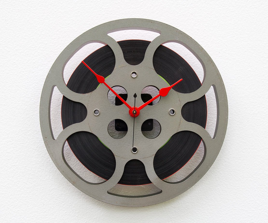Movie Reel Clock, recycled motion picture reel, movie lovers clock, theater clock, home movie clock, theater room clock