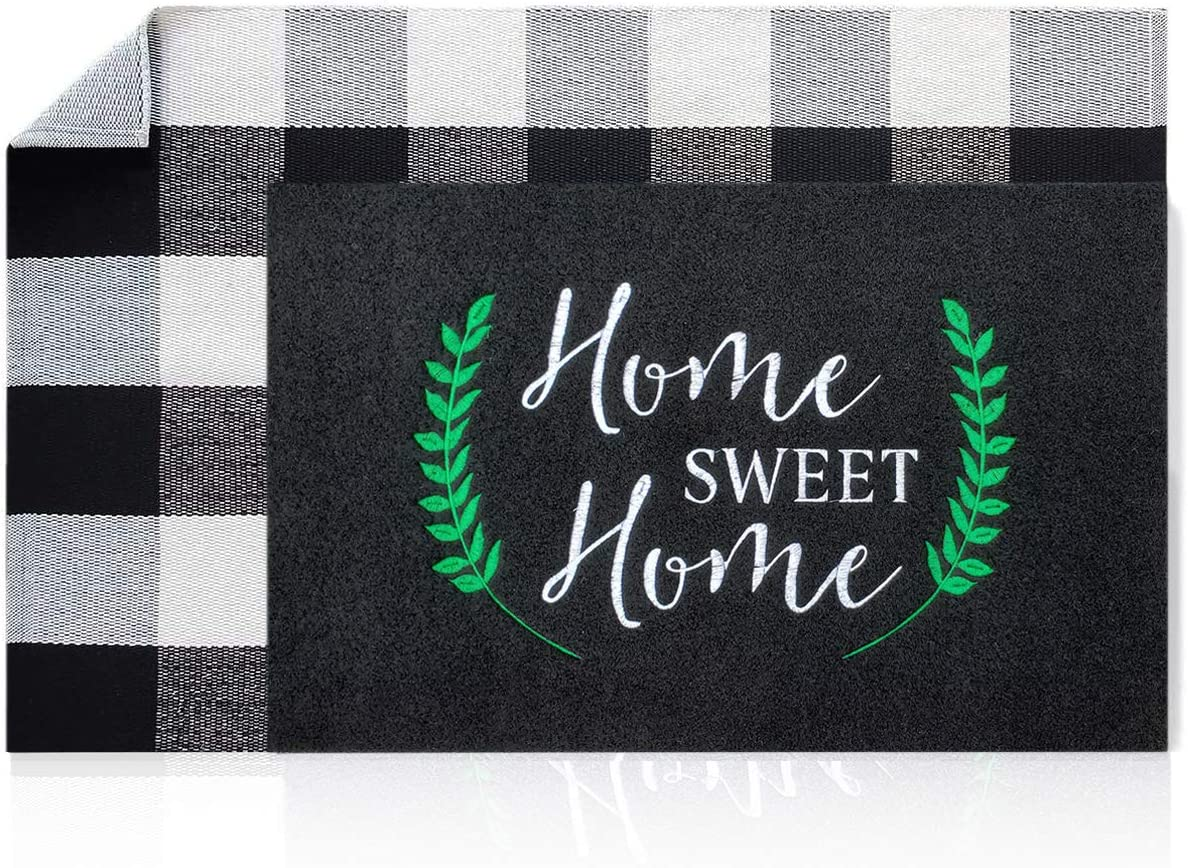 LAN SHAN QUE Black Home Sweet Home Welcome Mat + Buffalo Plaid Rug Large 24