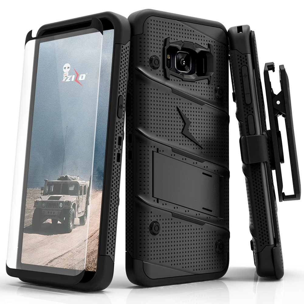 ZIZO Bolt Series Samsung Galaxy S8 Case Military Grade Drop Tested with Tempered Glass Screen Protector, Holster Black