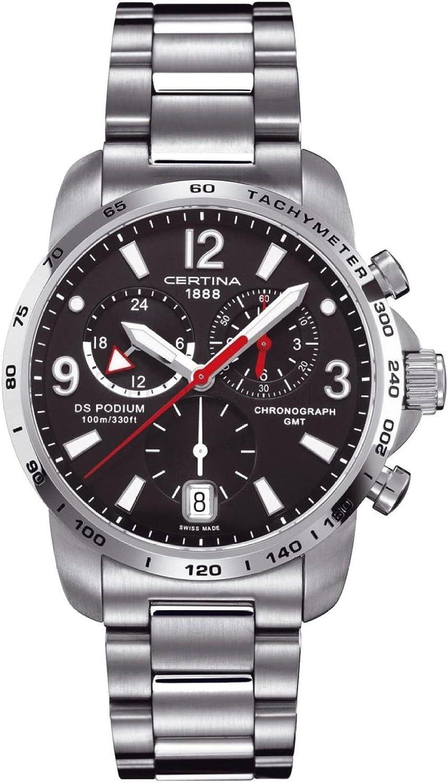 Certina 0 - Reloj de Cuarzo para Hombre, con Correa de Acero Inoxidable, Color Plateado