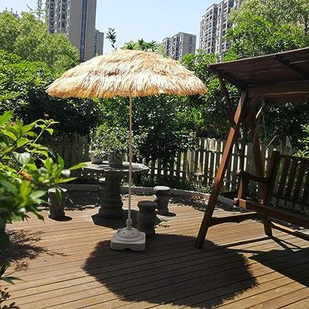 WWWRL Sombrilla de Playa Paraguas | Superficie Diámetro 1.8m | Simulación Paraguas de Paja para Jardín/Balcón/Terraza/Patio | Altura 1.9m | Parasol Exterior sin Base, Natural: Amazon.es: Hogar