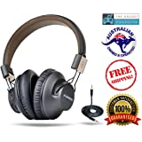 Avantree 40 hr Wireless / Wired Bluetooth 4.1 Over the Ear Foldable Headphones / Headset with Mic, APTX LOW LATENCY Fast Audio for TV PC Cell Phones, NFC, Multipoint - Audition Pro [2-Year Warranty]