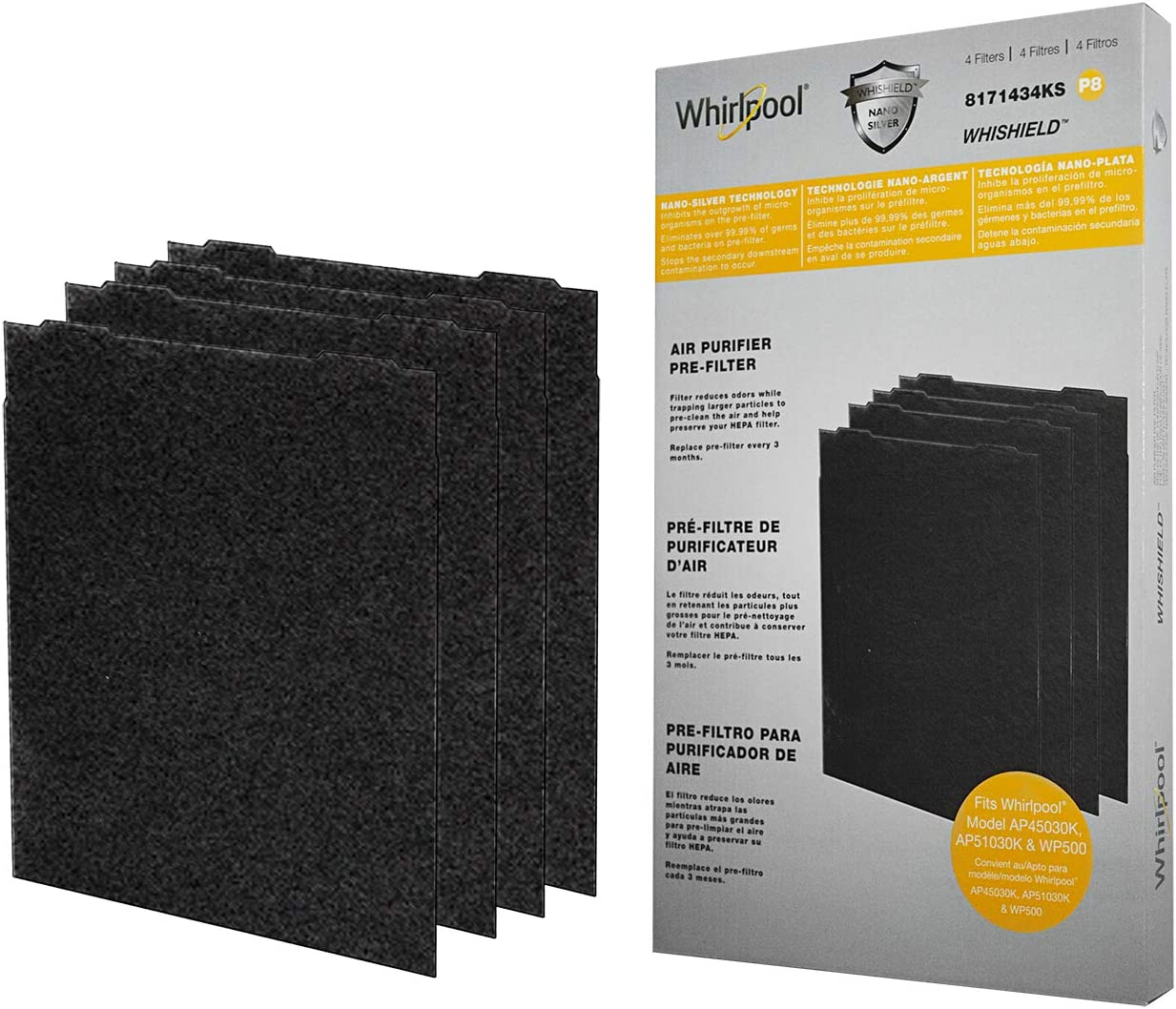Whirlpool 8171434KS Genuine Charcoal Pre-Filter - Whishield Anti-Microbial Activated - Replacement Fit for Air Purifier AP51030K, AP45030K, APR45130L and WP500, Large - 4 Pack
