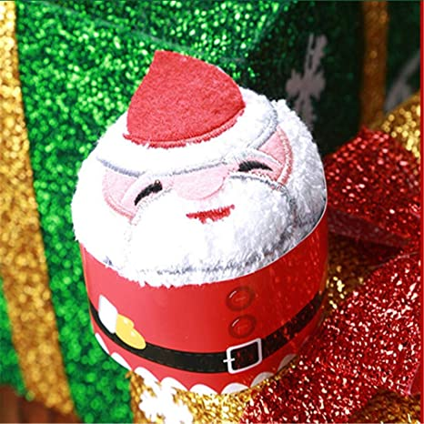 Jspoir Melodiz Toalla de algodón, diseño de Papá Noel, árbol de Navidad, muñeco