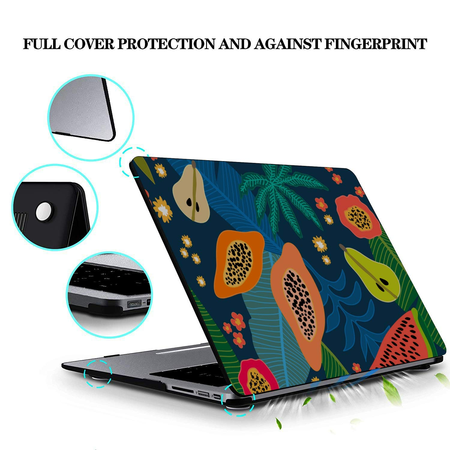 MacBook Cover 15 Inch Summer Tropical Cute Papaya Fruit Plastic Hard Shell Compatible Mac Air 11 Pro 13 15 MacBook Air Case 13 Protection for MacBook 2016-2019 Version