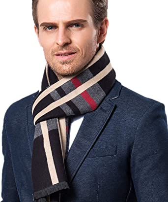 Men's Fashion Scarves for Winter Cashmere Feel Scarf for Men 70.8 11.8 IN  (Black Check) at Amazon Men's Clothing store