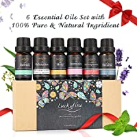 Essential Oils Set, Luckyfine Premium Aromatherapy Oil Gift Set, Premium Therapeutic Grade Oil Kit of Top 6 High Quality Oils- Breathe, Immunity, Refresh, Relaxation, Decompression, Sleep 10ml