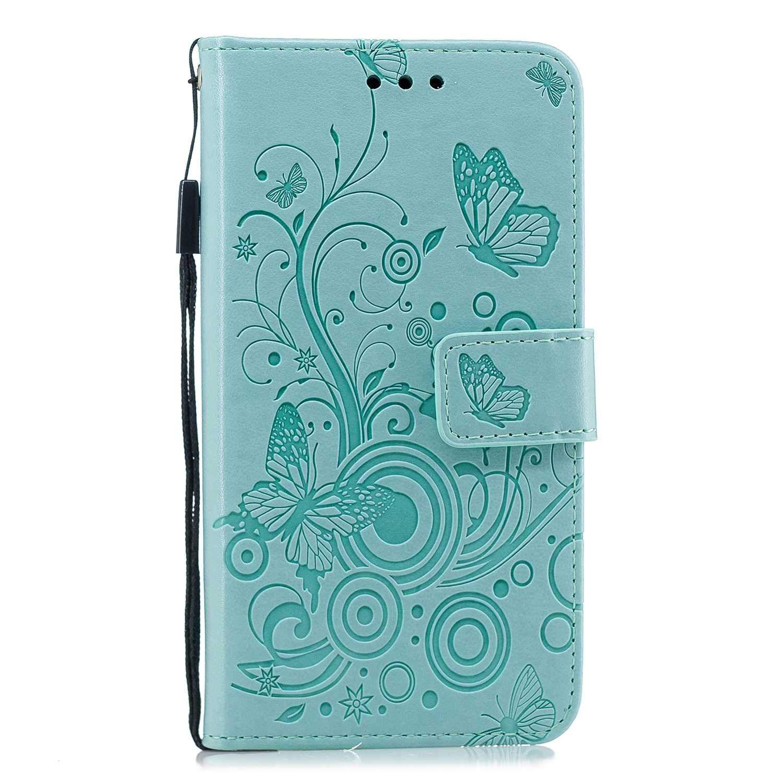 HCUI Compatible avec Galaxy J3 2018 Coque Cuir Étui Wallet Housse Papillon Fleur Motif Portefeuille de Protection Coque avec Fonction Support Magnétique Pochette Antichoc Coque - Vert.