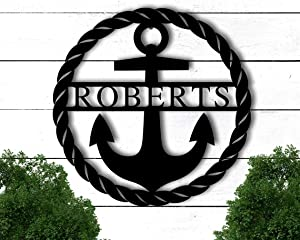 PotteLove Personalized Metal Anchor Sign, Beach House Sign Personalized, Anchor Wall Decor, Family Name Metal Sign, Last Name Sign, Front Porch Sign Outdoor or Indoor Wall Decor 14 Inch