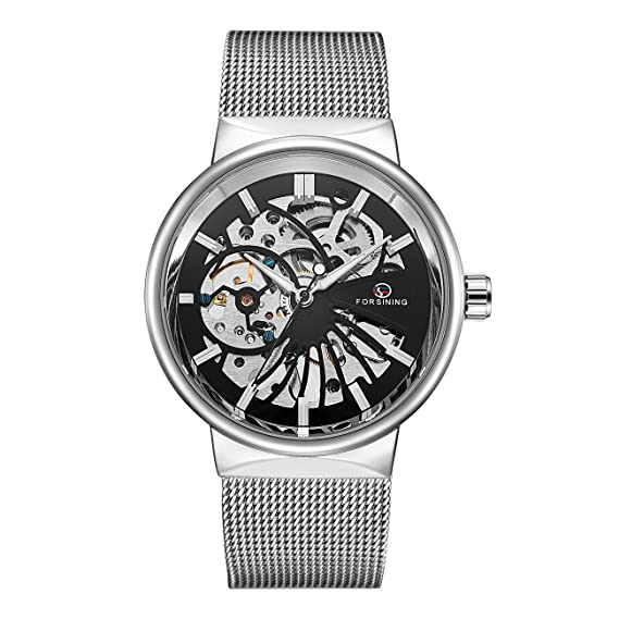 c77ec46f685 AFFUTE Mechanical Men s Watches Classic Thin Skeleton Silver Tone Mesh  Stainless Strap Hand-Wind Analogue