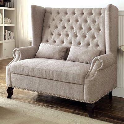 Benzara BM137801 Alcacer Romantic Mid-Century Style Love Seat, NA, Beige