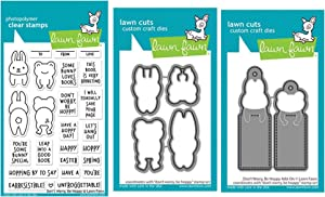 """Lawn Fawn Don't Worry Be Hoppy 4""""x6"""" Clear Stamp Set and Coordinating Custom Craft Die Set (LF2232, LF2233, LF2234), Bundle of 3 Items"""