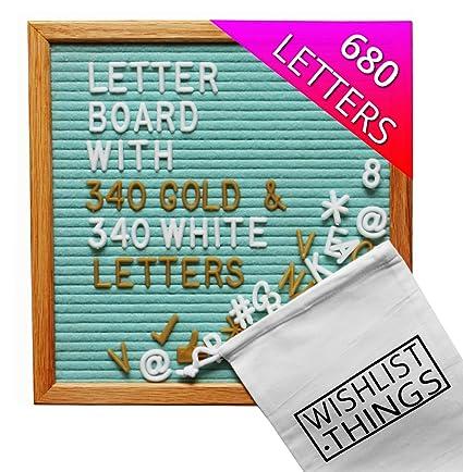 Light Green Felt Letter Board 10 x 10 inch Oak Wood Frame   Changeable  Letter Board with 680 White & Gold Letters   Wooden Message Board Includes