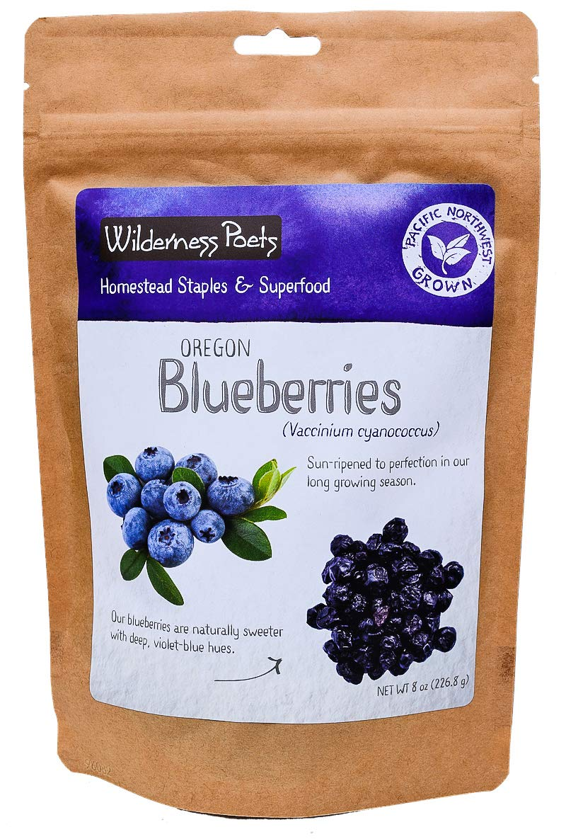 Wilderness Poets Oregon Blueberries (Sweetened with Apples) - Whole, Dried, Fruit (8 Ounce)
