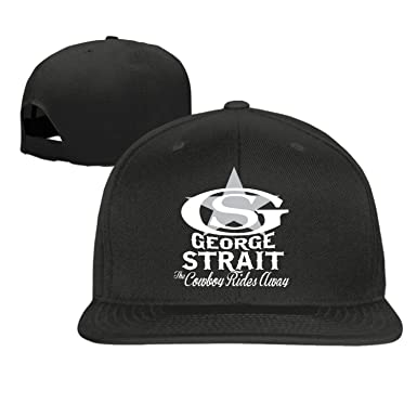 367077f349 Unisex George Strait logo flat bill stretch cap Black One Size at ...