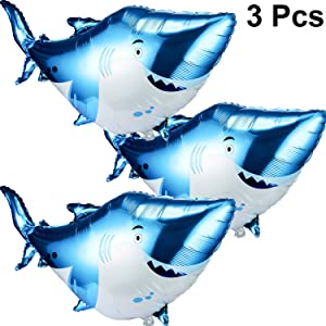 Large Mylar Foil Shark Balloons Happy Birthday Party Supplies Decorations Ocean Animal Under Sea Beach Theme Party Supplies (3 Packs)